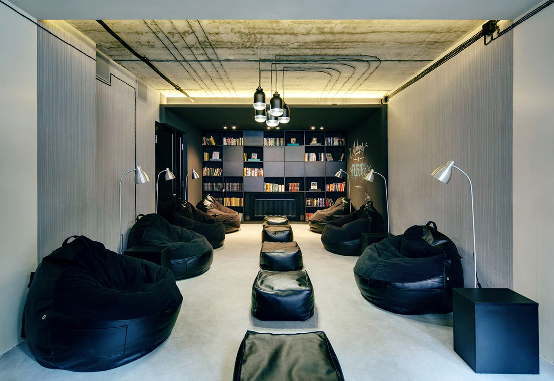 Reading room with bean bags