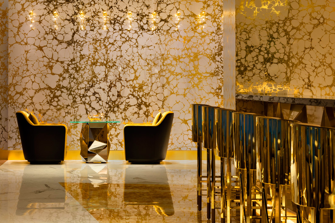 Lounge chairs in gold velour
