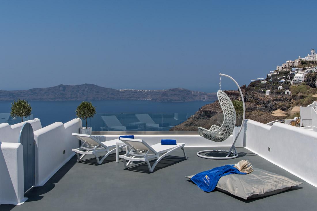 Sun terrace in Santorini