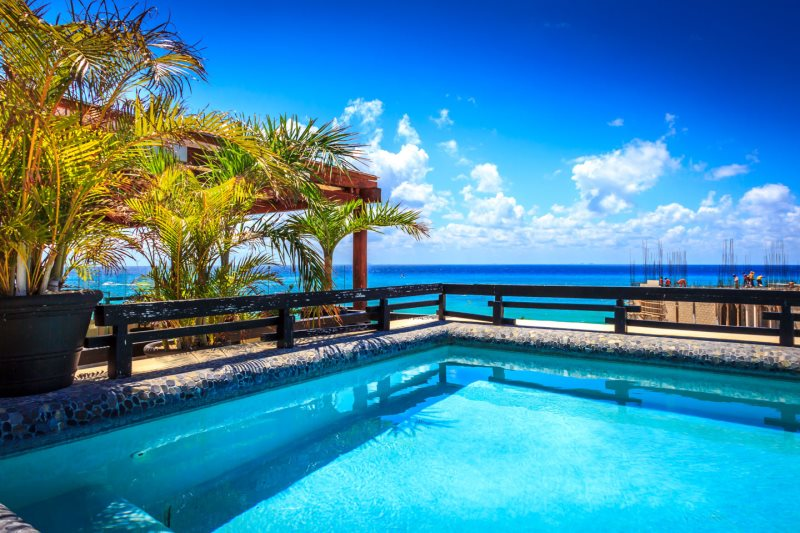 Rooftop plunge pool with sea views