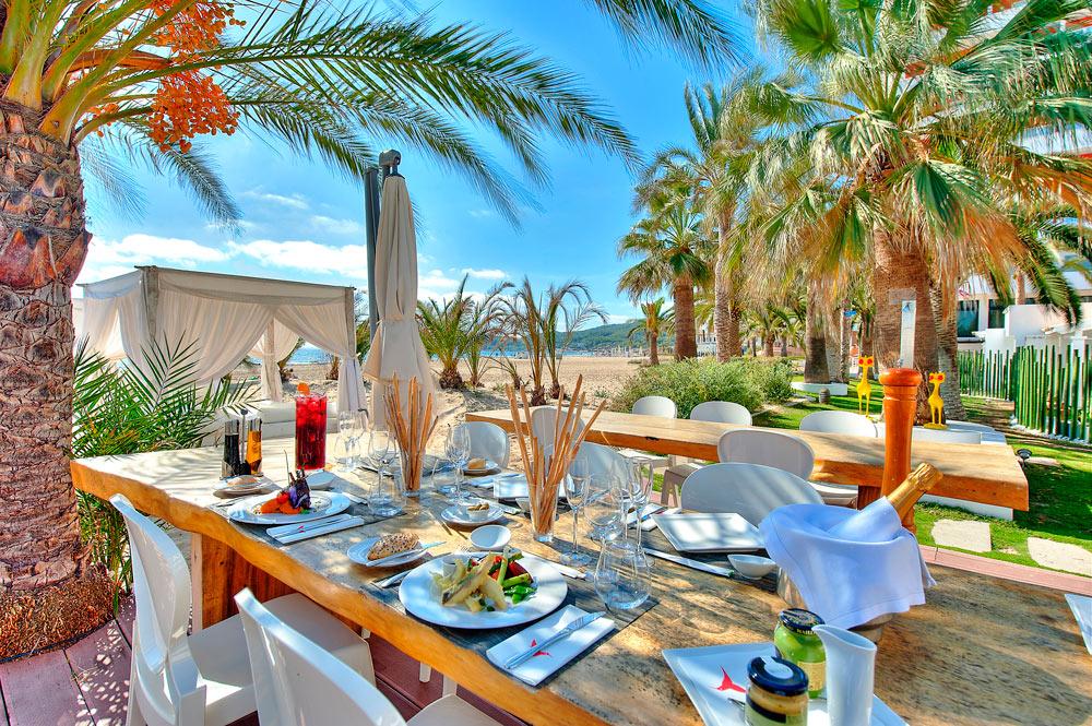 Beach dining in Ibiza